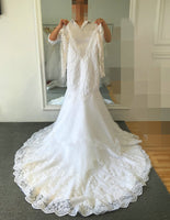 V-back Mermaid Wedding Dress,Popular Bridal Dress With Appliques and Beading  BDS0143