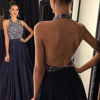 Halter Neck Beaded A-line Long Prom Dress,Popular Wedding Party Dress,Cocktail Dress,Fashion Evening Dresses PDS0282