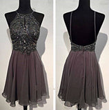 Short Chiffon Homecoming Dress With Beading, Short Prom Dress  PDS0083