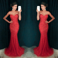 Mermaid Full Beaded Tulle Long Prom Dress Wedding Party Dress Formal Dress PDS0502