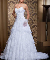2 in 1 Strapless A-line Wedding Dress,Sweetheart Lace Bridal Dress SN0622