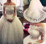 Off the Shoulder Beaded Wedding Dress Long Sleeves Bridal Dresses Vestidos de Novia BDS0582