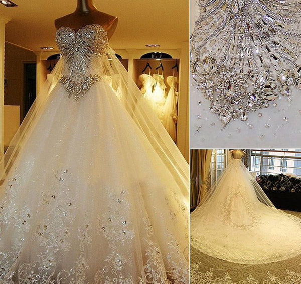 Fashion Sweetheart Ball Gown Wedding Dress With Applique and Beading Bridal Dresses Vestidos de Novia BDS0544