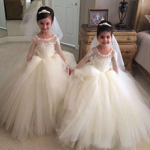 Custom Made Ball Gown Folwer Girl Dress with Long Sleeves,Vestido da menina flor SF026