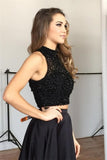 Fashion Two Piece Black Long Prom Dress ,Wedding Party Dress ,Formal Dress PDS0564