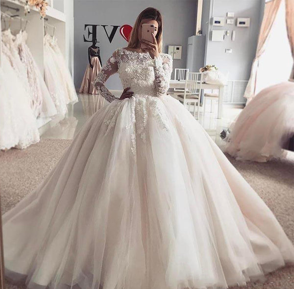Ball Gown Wedding Dress with Long Sleeves, Fashion Custom Made Bridal Dresses, Plus Size Wedding dress BDS0662