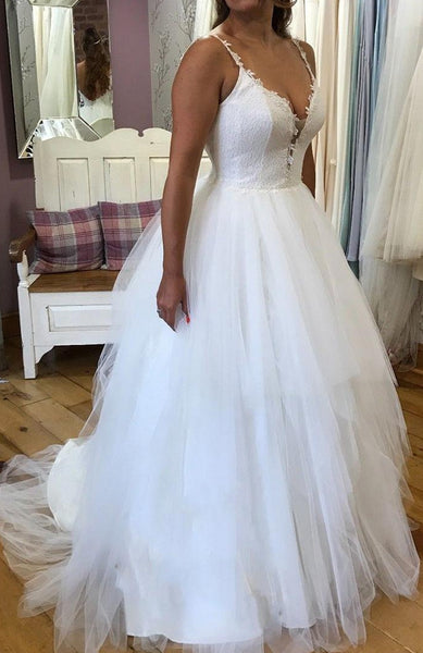 Open Back A-line Tulle/Lace Wedding Dress, Fashion Custom Made Bridal Dresses, Plus Size Wedding dress BDS0621