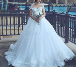 Off the Shoulder Ball Gown Wedding Dress, Appliqued Bridal Dresses, Vestidos de Novia BDS0600
