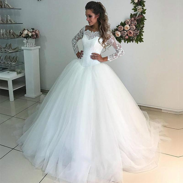 Princess Style Wedding Dress with Sleeves , A-line Bridal Dress ,Custom Made Dress For Wedding BDS0690