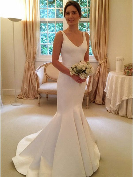 Backless V-neck Mermaid Wedding Dress,Fashion Satin Bridal Dresses, Vestidos de Novia BDS0612