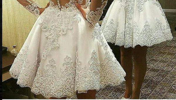 A Line Wedding Gown With Sleeves: 2 In 1 A-line Appliqued Wedding Dress,Bridal Dresses With