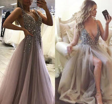 Deep V Neck Sexy Long Prom Dress, Fashion Beaded Pageant Dress, School Party Dress, Fashion Evening Dress PDS0863