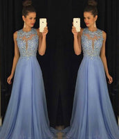 A-line Fashion Long Prom Dress With Applique and Beading, Wedding Party Dress ,Formal Dress PDS0517