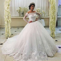Ball Gown Wedding Dress with Long Sleeves, Fashion Custom Made Bridal Dresses, Plus Size Wedding dress BDS0661