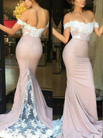 Off the Shoulder Long Bridesmaid Dress,Popular Wedding Party Dress,Mermaid Long Prom Dress  PDS0165
