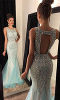 Open Back Beading Long Prom Dress,Popular Wedding Party Dress,Cocktail Dress,Fashion Evening Dresses PDS0290