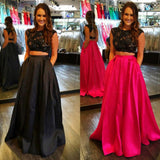 Two Piece Black Lace Top Long Prom Dress,Popular Wedding Party Dress,Cocktail Dress, PDS0333