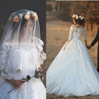 Boat Neckline Tulle Ball Gown Wedding Dresses With Applique Custom Made Bridal Dress BDS0312