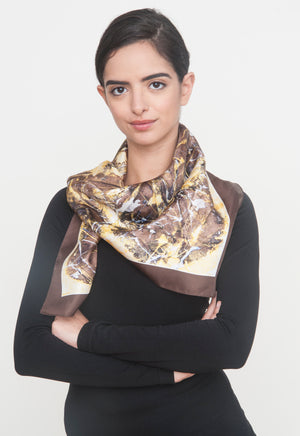 """Stop hunting me"" Silk Foulard Scarf - SMHDGalleries"