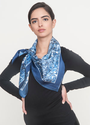 """Walls have eyes"" Silk Foulard Scarf - SMHDGalleries"