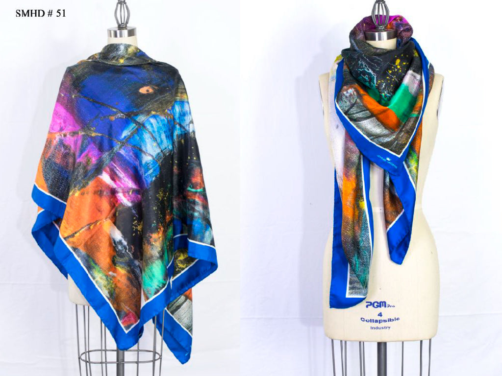 """Heathens"" Stola - Made in Italy Silk Art Scarf - SMHDGalleries"