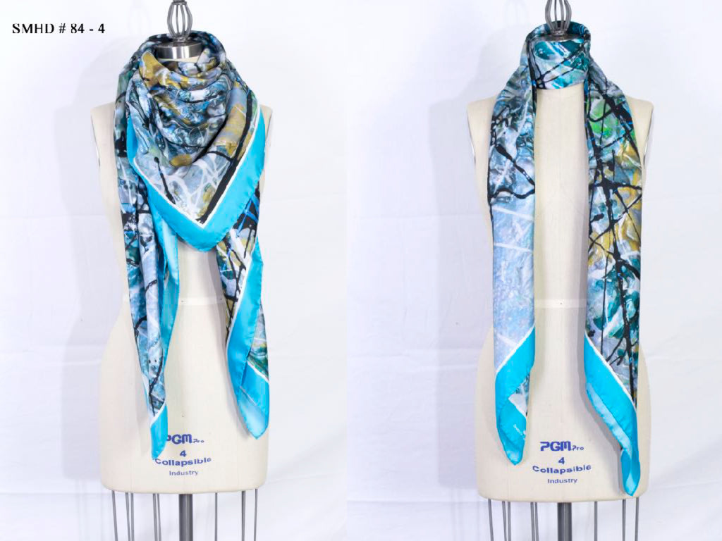"""Aquarius Blue"" Stola - Made in Italy Silk Art Scarf - SMHDGalleries"