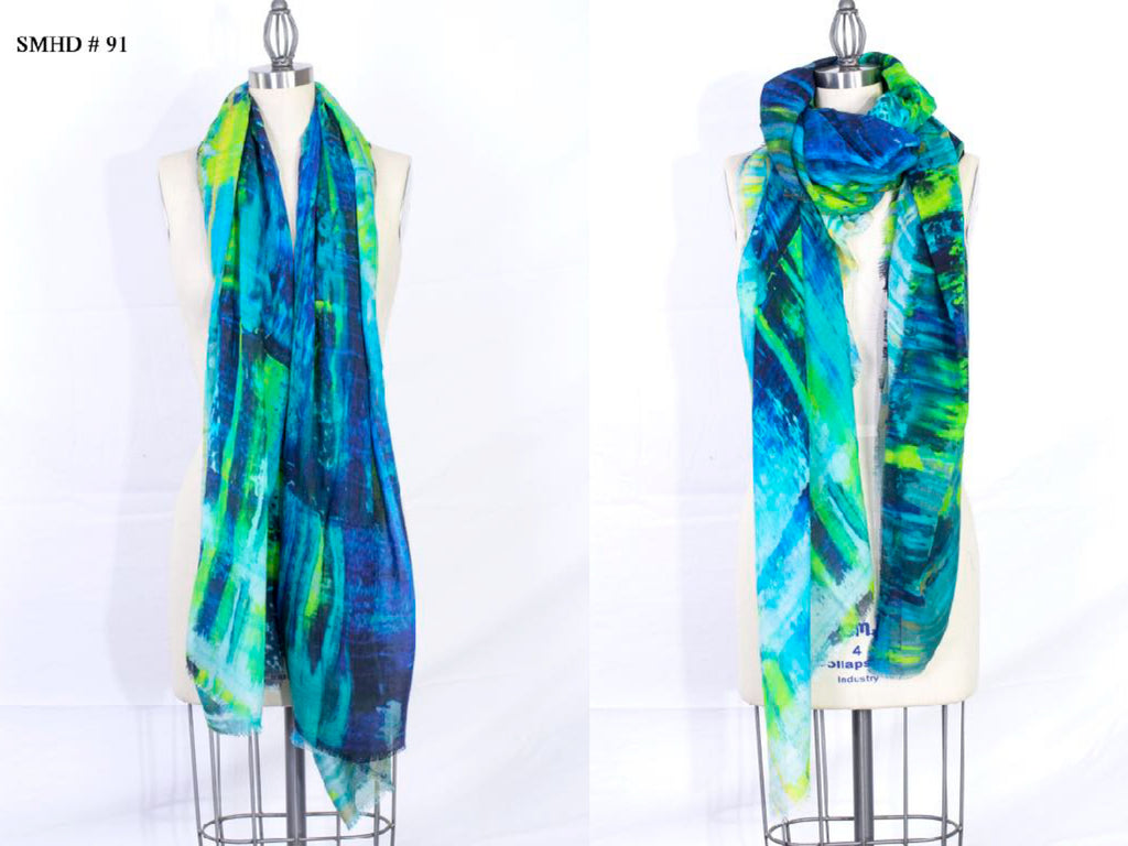 """Glitch"" Long Shawl - Made in Italy Art Scarf - SMHDGalleries"