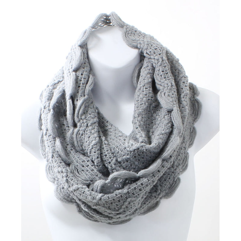 Scallop Edge Light Gray Winter Infinity Scarf