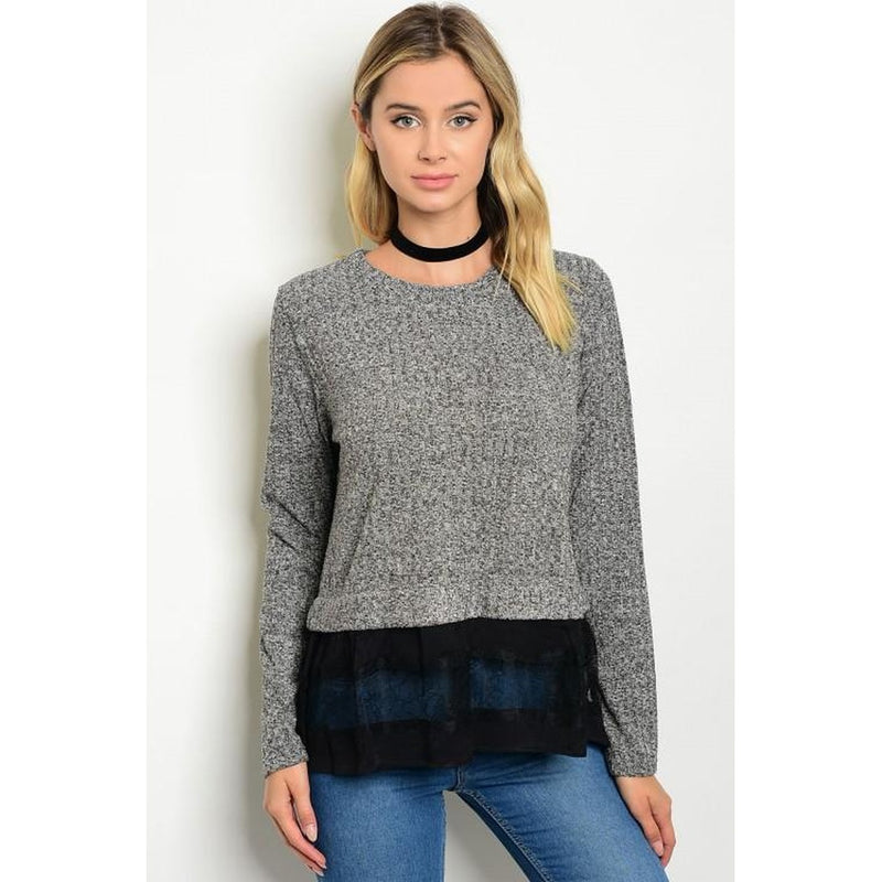 Women's Black Sweater Top with Lace