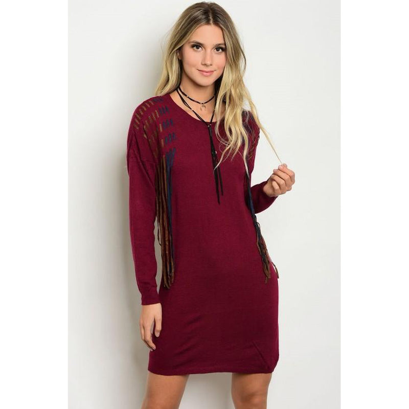 Women's Long Sleeve Burgundy Red Dress With Fringe