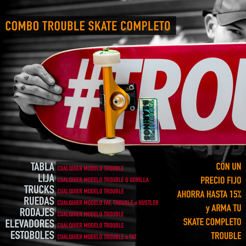 Skate Completo - TROUBLE - Combo de 7 productos