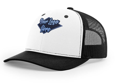 Woven Patch White/Black Premium American Twill Cap with Snap Back Pro Styling