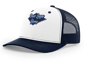 Woven Patch White/Navy Premium American Twill Cap with Snap Back Pro Styling