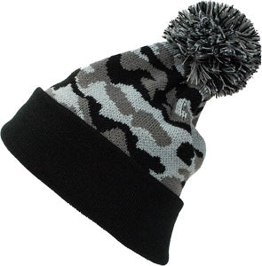 Embroidered Patch Parker Cuffed Pom Pom Beanie