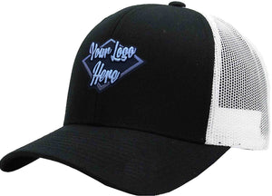 3D Patch Cap Black/Grey Brushed Cotton with Mesh Back