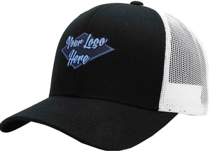 Woven Patch Cap Black/Grey Brushed Cotton with Mesh Back