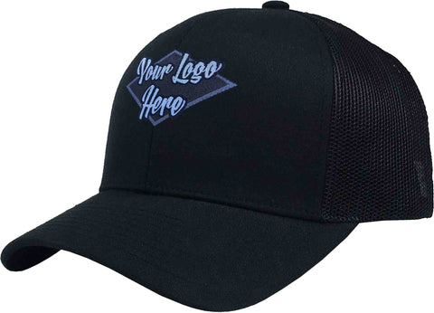 Woven Patch Cap Black Brushed Cotton with Mesh Back