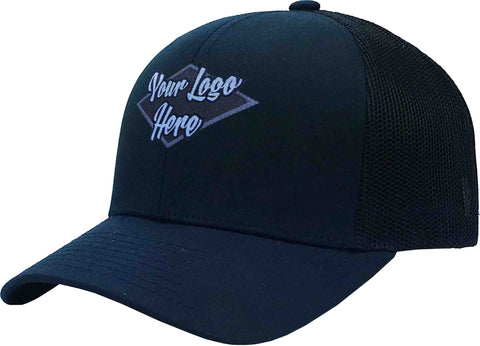 Woven Patch Cap Navy Brushed Cotton with Mesh Back