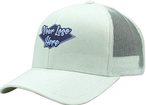 Woven Patch Cap White Brushed Cotton with Mesh Back