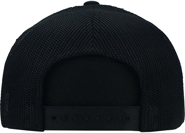Patch Cap Black Brushed Cotton with Mesh Back