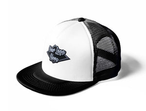 3D Patch White/Black Trucker Mesh Cap With Flat Peak