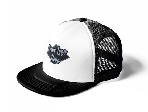 Woven Patch White/Black Trucker Mesh Cap With Flat Peak