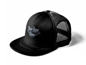 Woven Patch Black Trucker Mesh Cap With Flat Peak