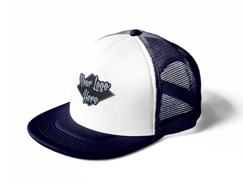 Woven Patch White/Navy Trucker Mesh Cap With Flat Peak