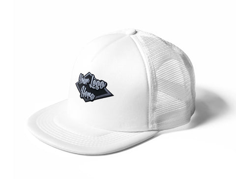 3D Patch White Trucker Mesh Cap With Flat Peak