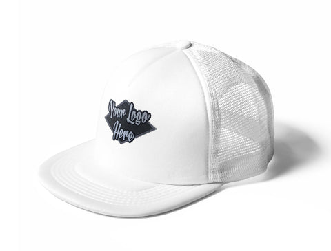 Woven Patch White Trucker Mesh Cap With Flat Peak
