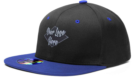 Woven Patch Cap Black/Blue Premium American Twill with Snap Back Pro Styling - Two Tone