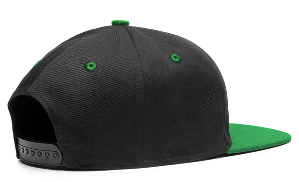 Patch Cap Black/Emerald Premium American Twill with Snap Back Pro Styling - Two Tone