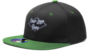 3D Patch Cap Black/Emerald Premium American Twill with Snap Back Pro Styling - Two Tone