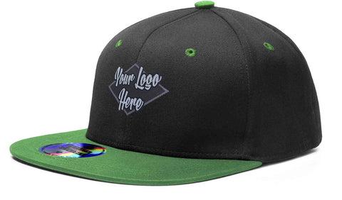 Woven Patch Cap Black/Emerald Premium American Twill with Snap Back Pro Styling - Two Tone